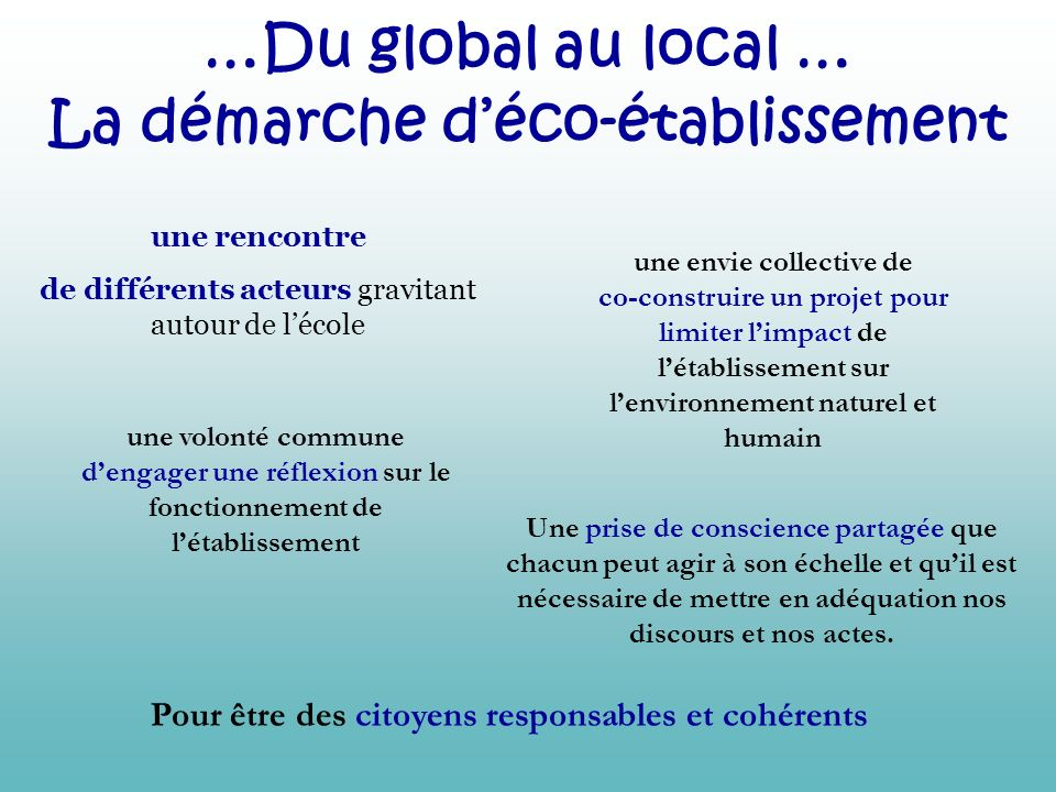 …Du global au local … La démarche d'éco-établissement