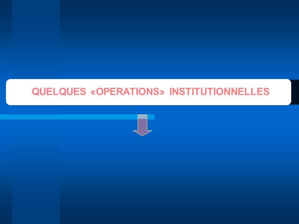 QUELQUES «OPERATIONS» INSTITUTIONNELLES