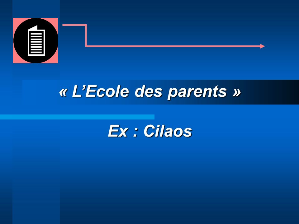 « L'Ecole des parents » Ex : Cilaos