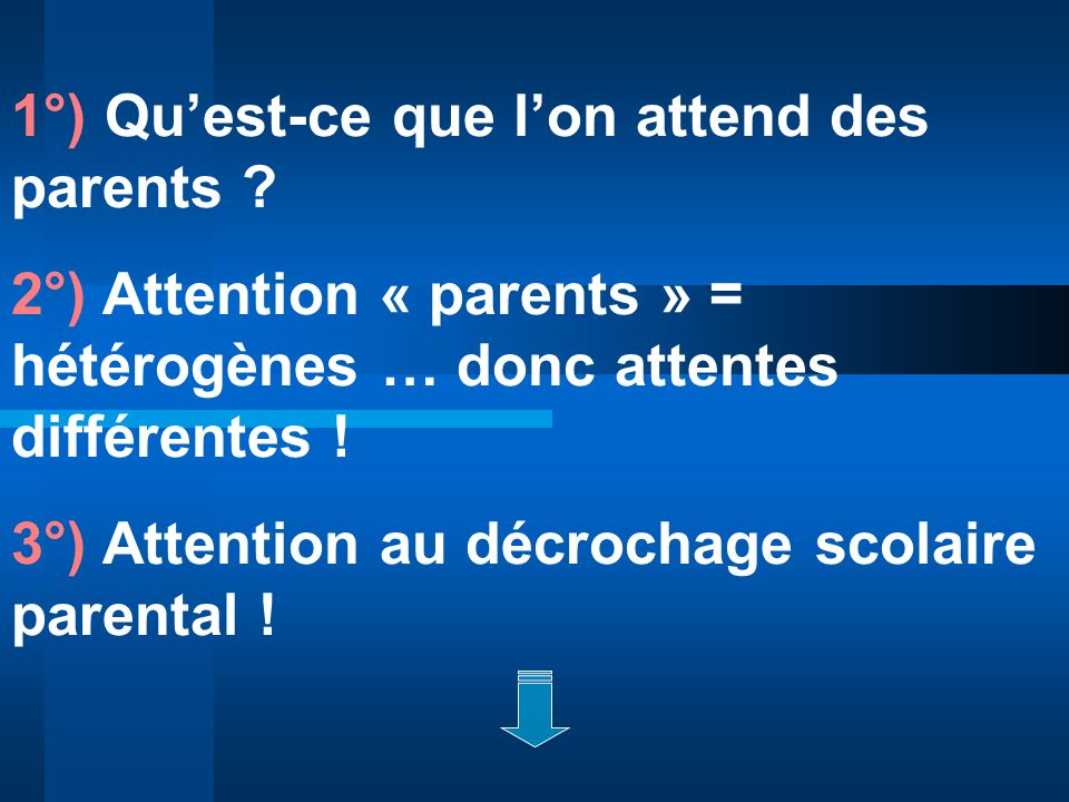 1°) Qu'est-ce que l'on attend des parents