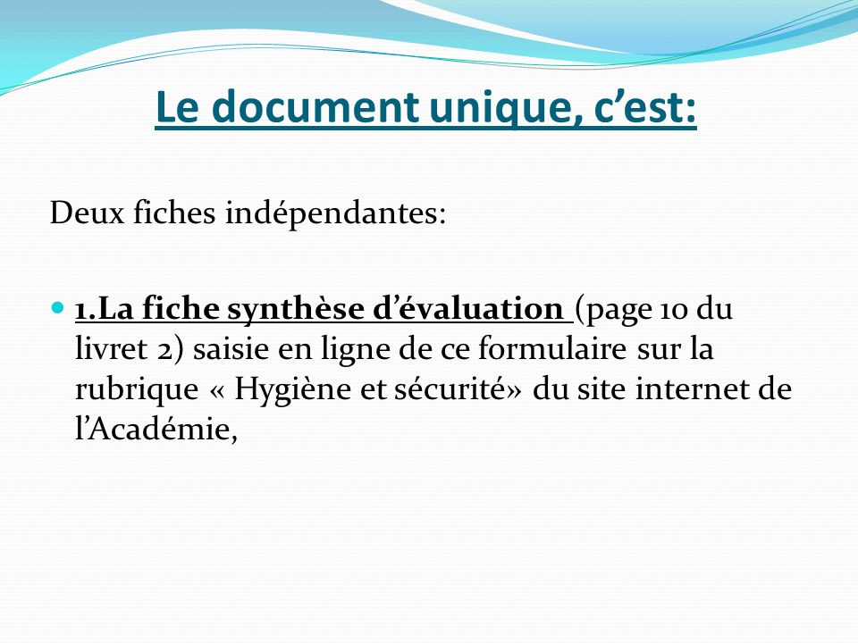 Le document unique, c'est: