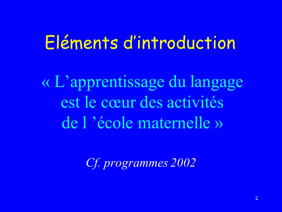 Eléments d'introduction