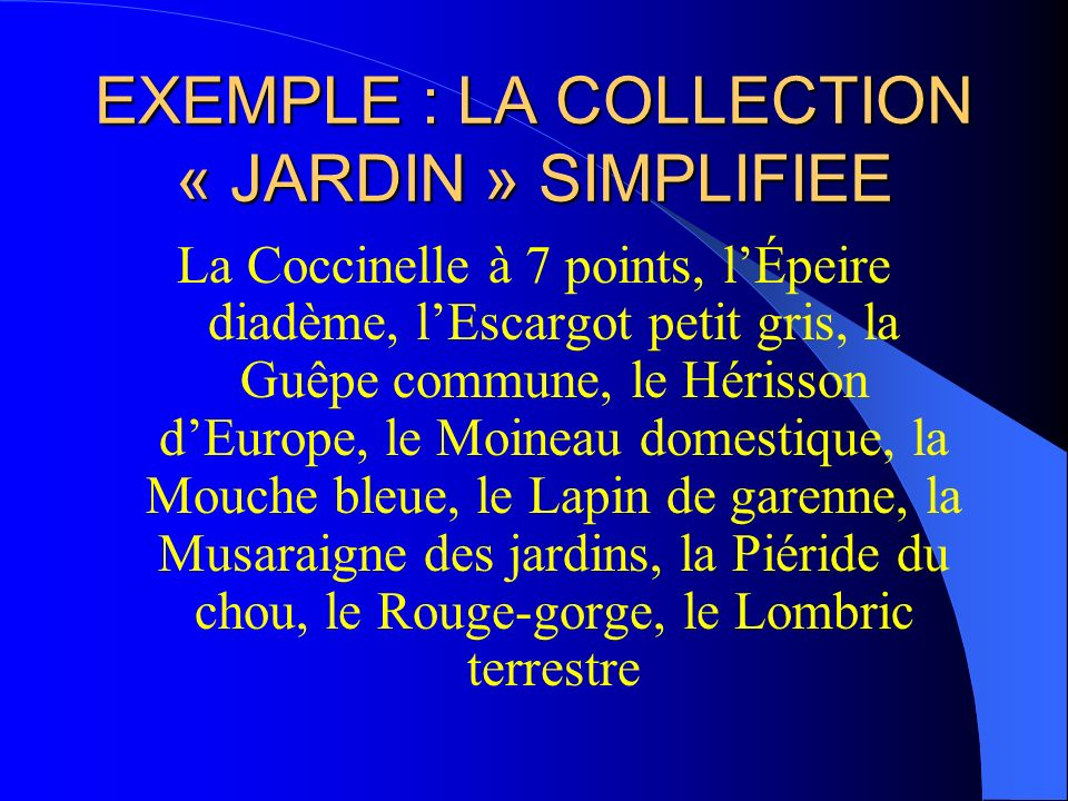 EXEMPLE : LA COLLECTION « JARDIN » SIMPLIFIEE