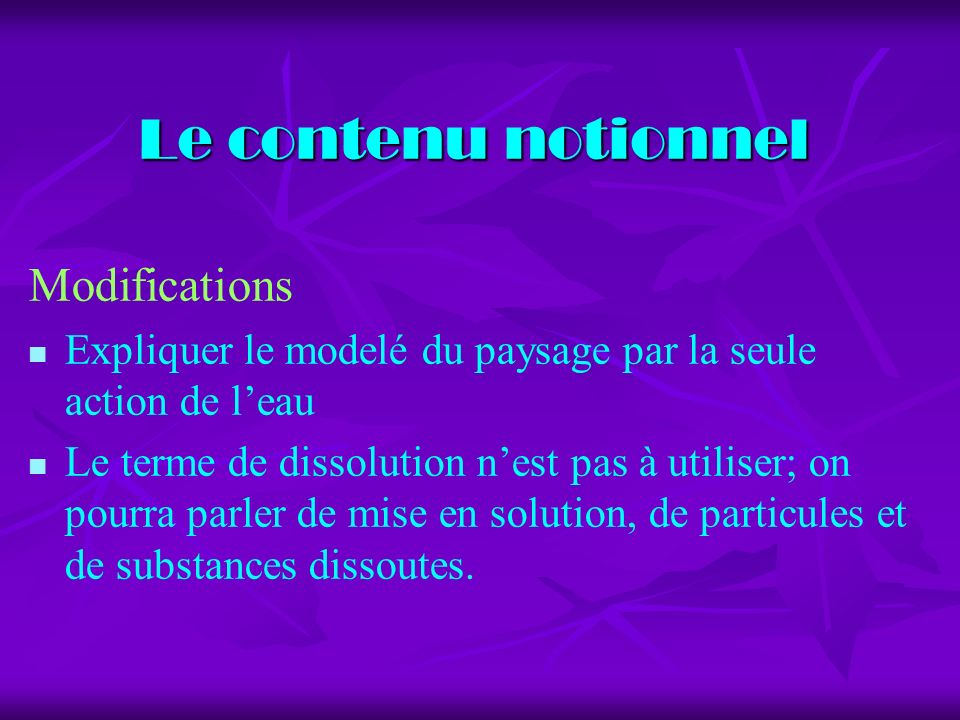 Le contenu notionnel Modifications
