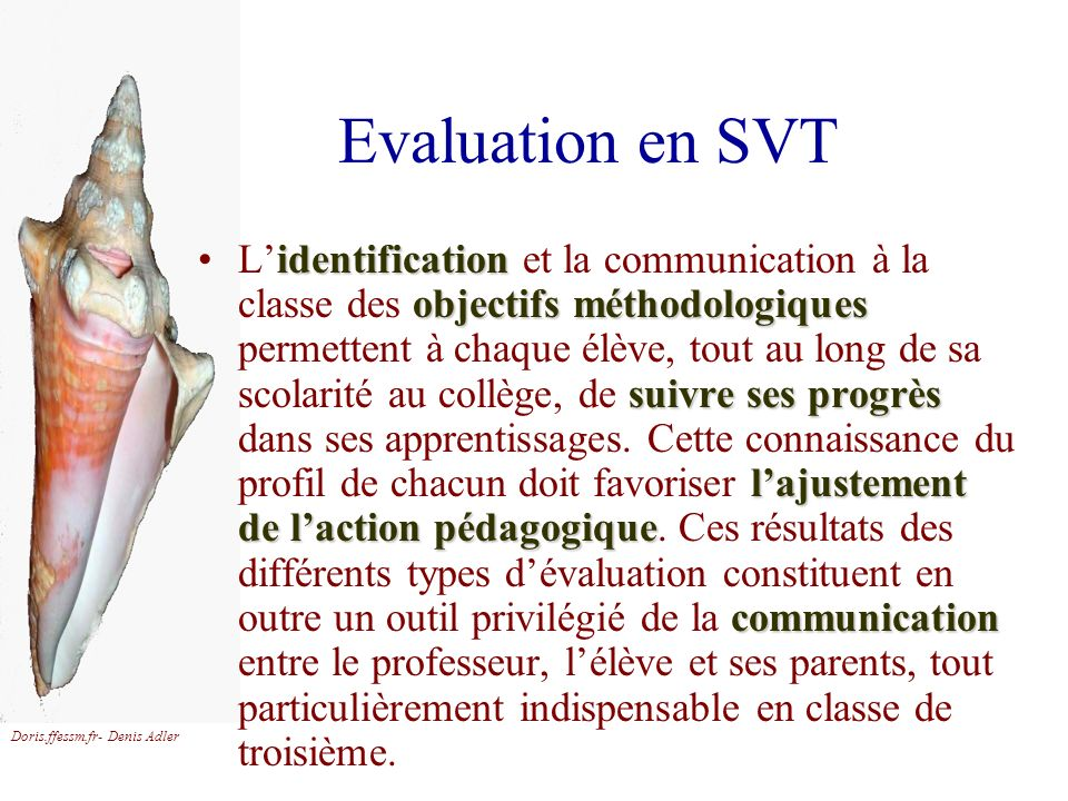 Evaluation en SVT