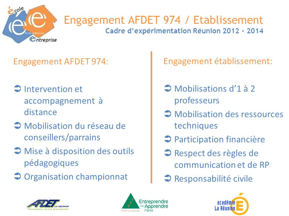 Engagement AFDET 974 / Etablissement