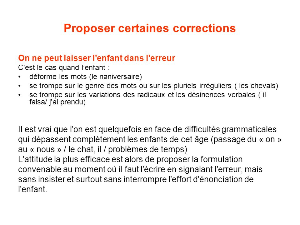 Proposer certaines corrections