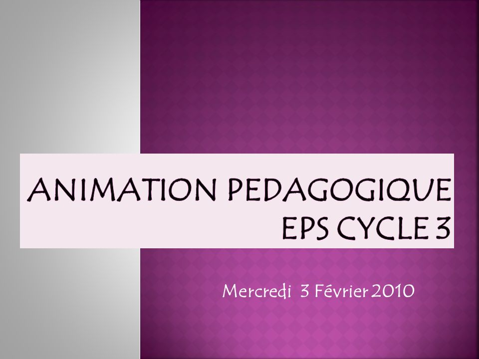 Animation PEDAGOGIQUE EPS Cycle 3