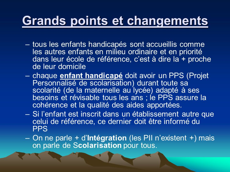 Grands points et changements