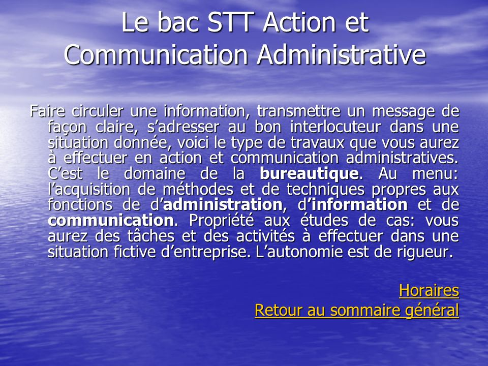 Le bac STT Action et Communication Administrative