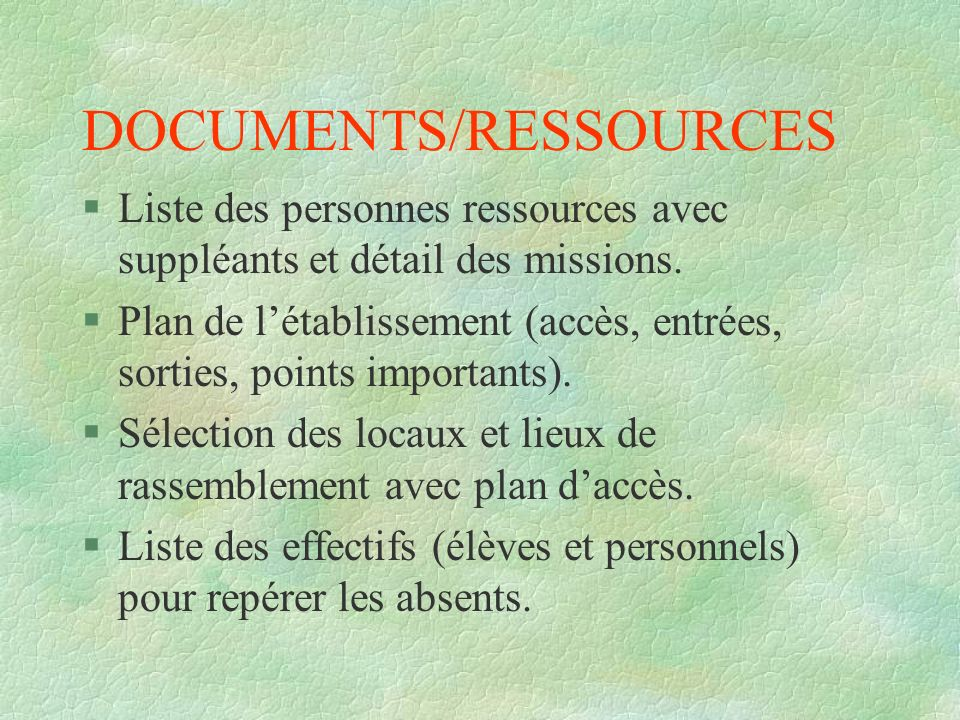 DOCUMENTS/RESSOURCES