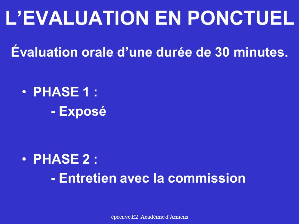 L'EVALUATION EN PONCTUEL
