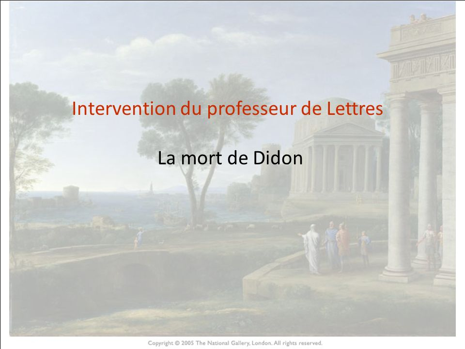 Intervention du professeur de Lettres