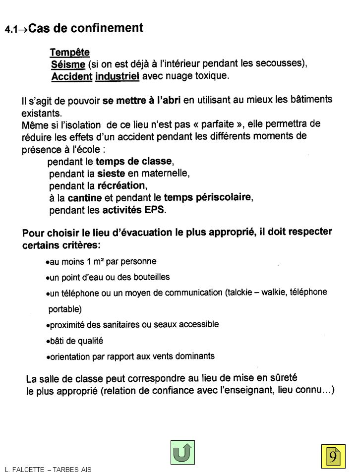 confinement 9 L. FALCETTE – TARBES AIS