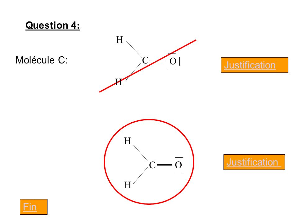 Question 4: C H O Molécule C: Justification C H O Justification Fin