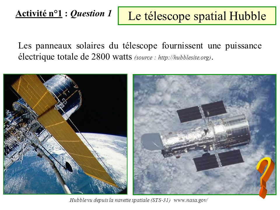 Le télescope spatial Hubble Activité n°1 : Question 1