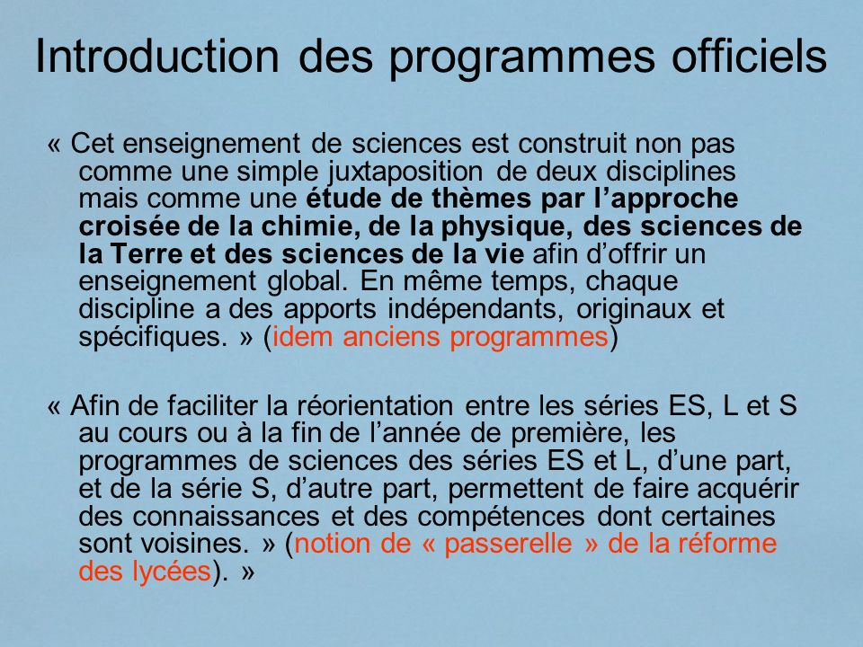 Introduction des programmes officiels