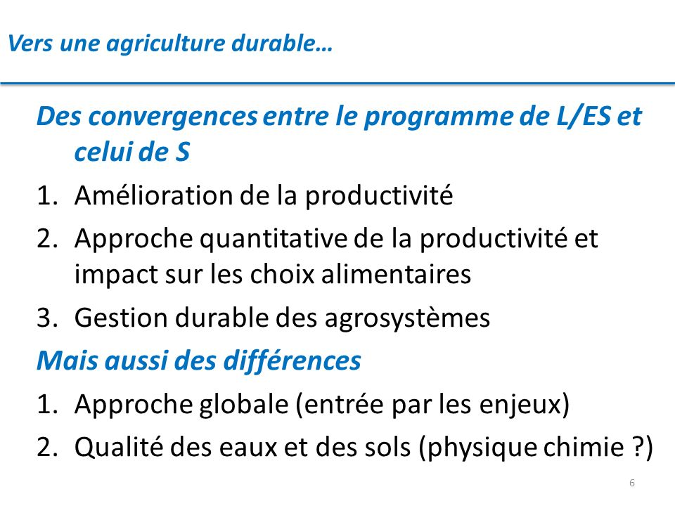 Vers une agriculture durable…