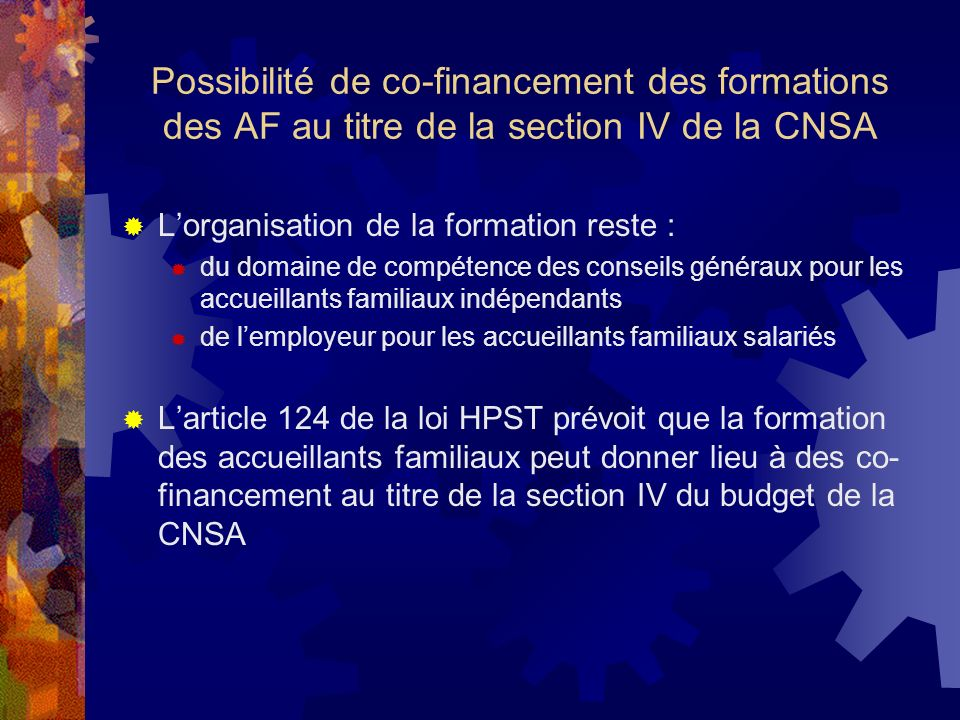 Possibilité de co-financement des formations des AF au titre de la section IV de la CNSA