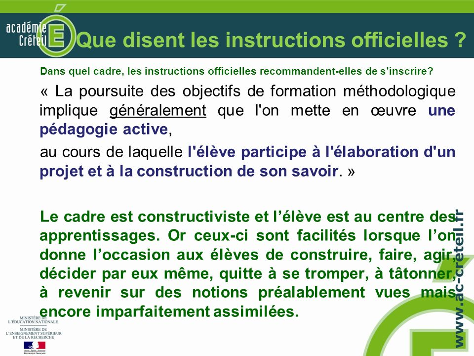 Que disent les instructions officielles