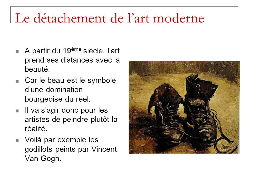 Le détachement de l'art moderne