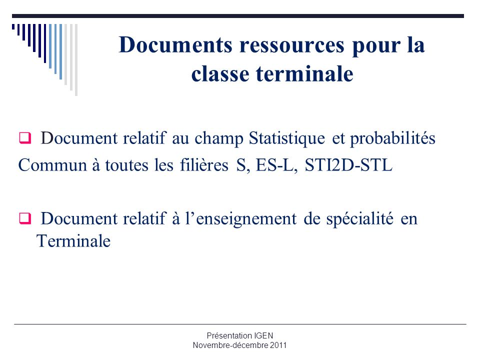Documents ressources pour la classe terminale
