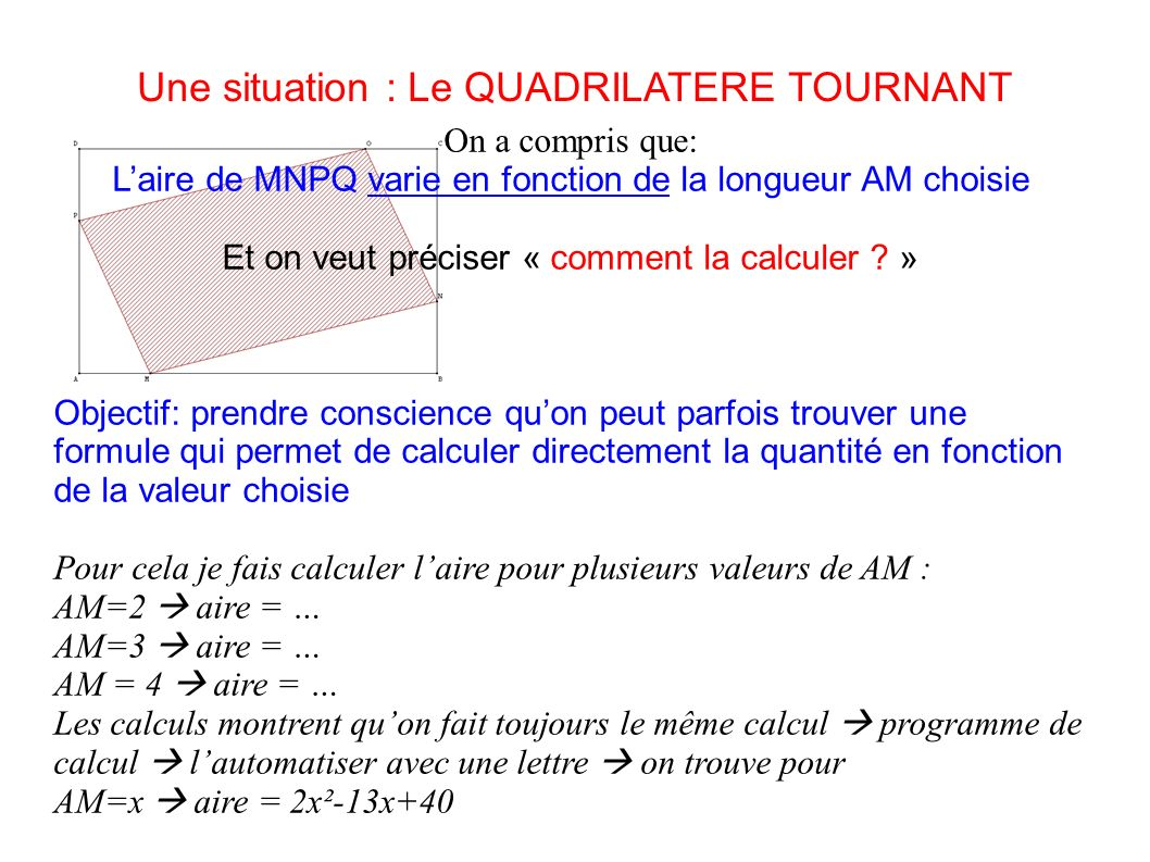 Une situation : Le QUADRILATERE TOURNANT