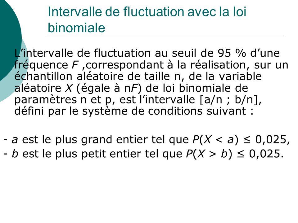Intervalle de fluctuation avec la loi binomiale