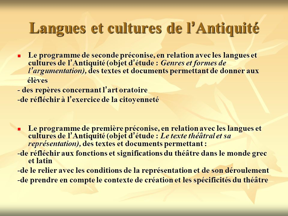 Langues et cultures de l'Antiquité
