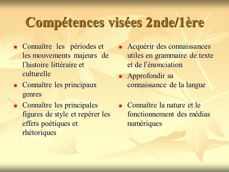 Présentation du PROGRAMME DE FRANCAIS en classe de seconde générale ... Compétences visées 2nde/1ère
