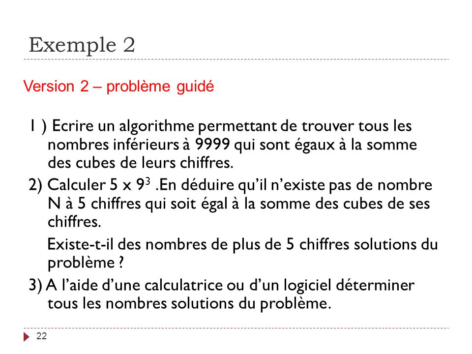 Exemple 2 Version 2 – problème guidé.