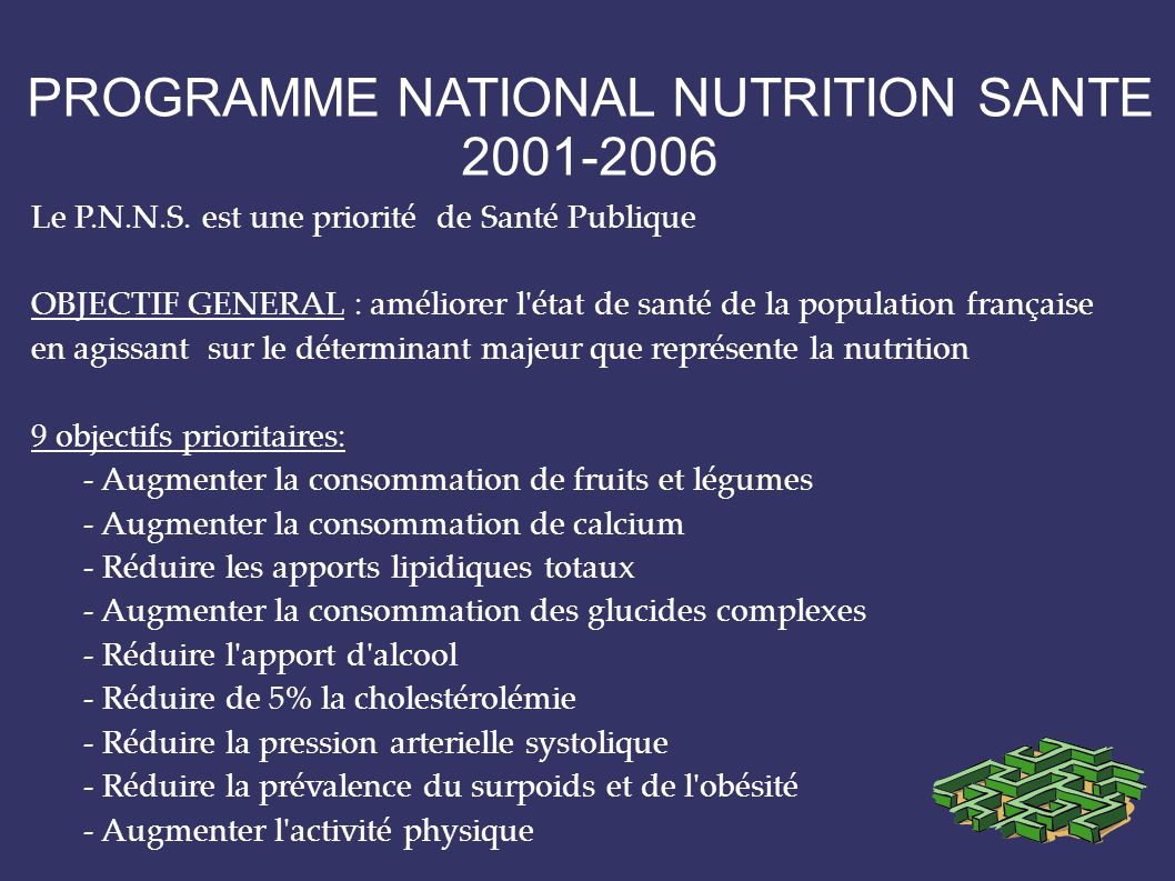 PROGRAMME NATIONAL NUTRITION SANTE