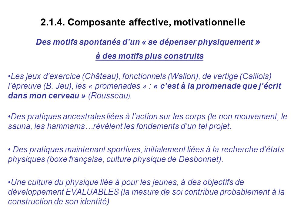 2.1.4. Composante affective, motivationnelle