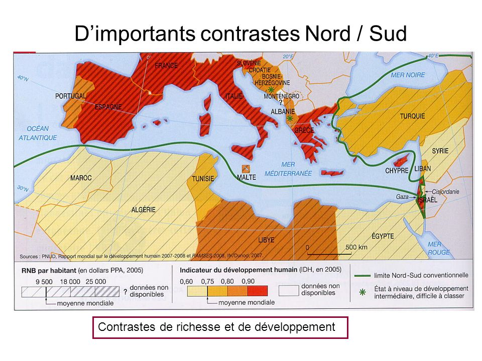 D'importants contrastes Nord / Sud