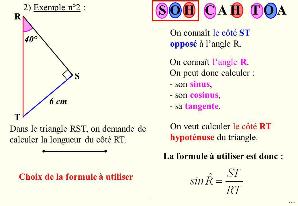 S O H C A H T O A 2) Exemple n°2 : R
