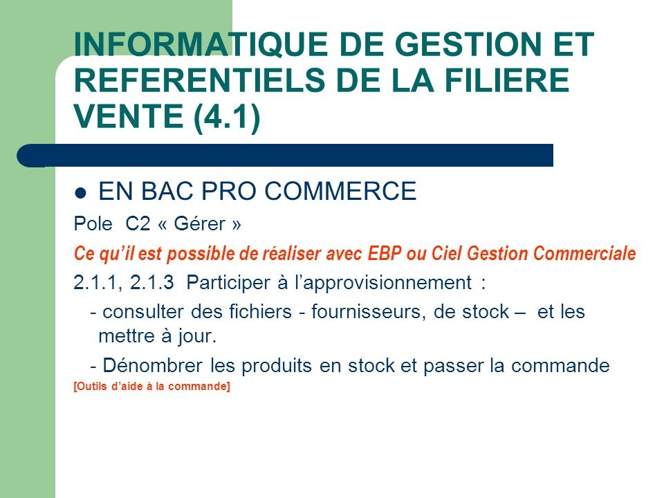 INFORMATIQUE DE GESTION ET REFERENTIELS DE LA FILIERE VENTE (4.1)