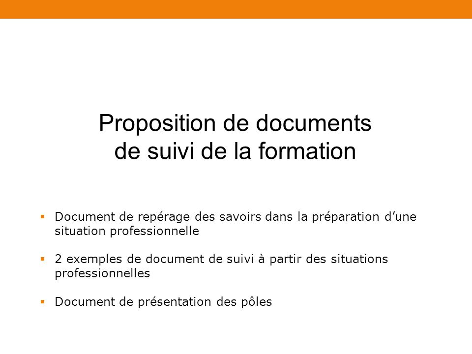 Proposition de documents de suivi de la formation