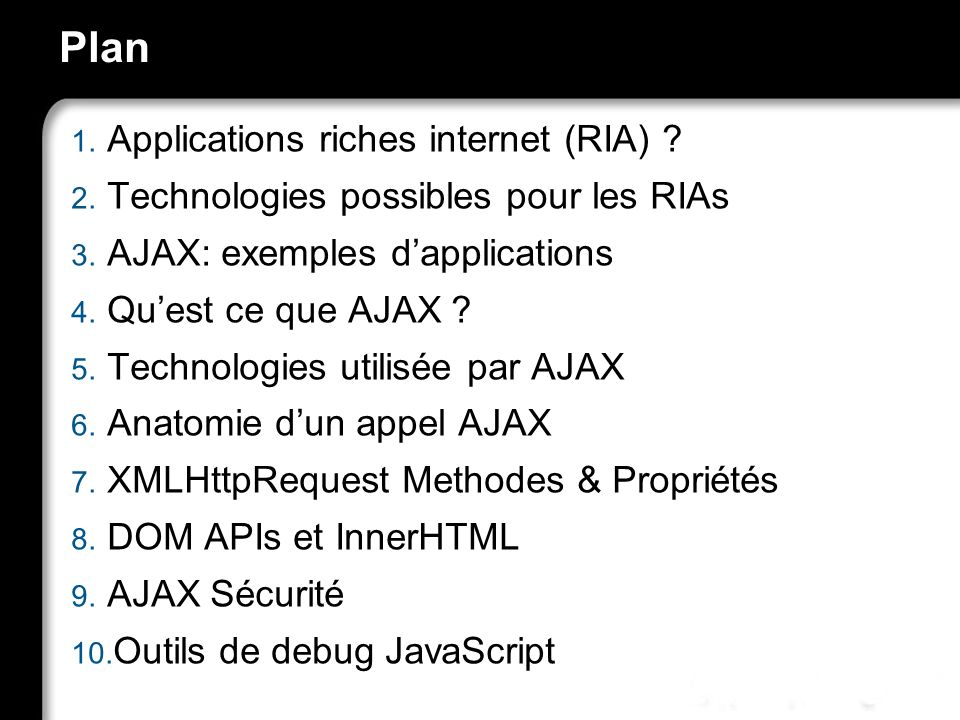 Plan Applications riches internet (RIA)
