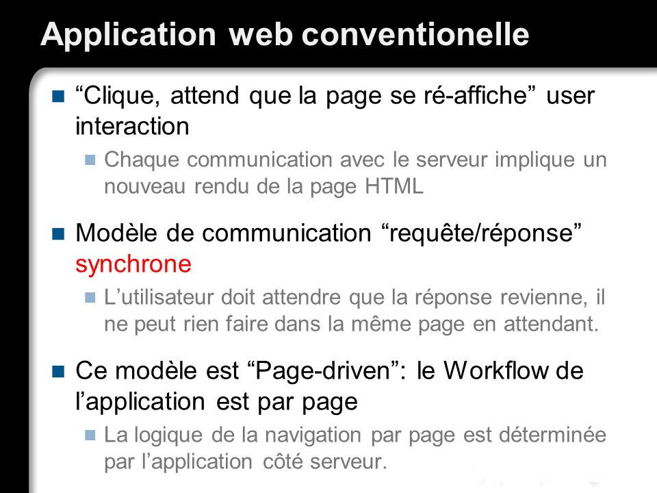 Application web conventionelle