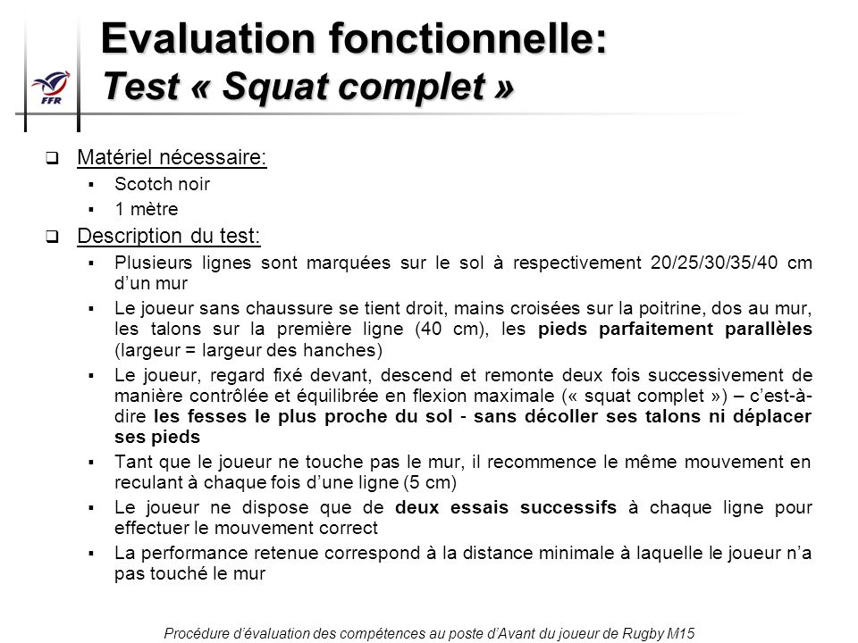 Evaluation fonctionnelle: Test « Squat complet »