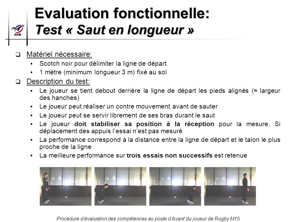 Evaluation fonctionnelle: Test « Saut en longueur »