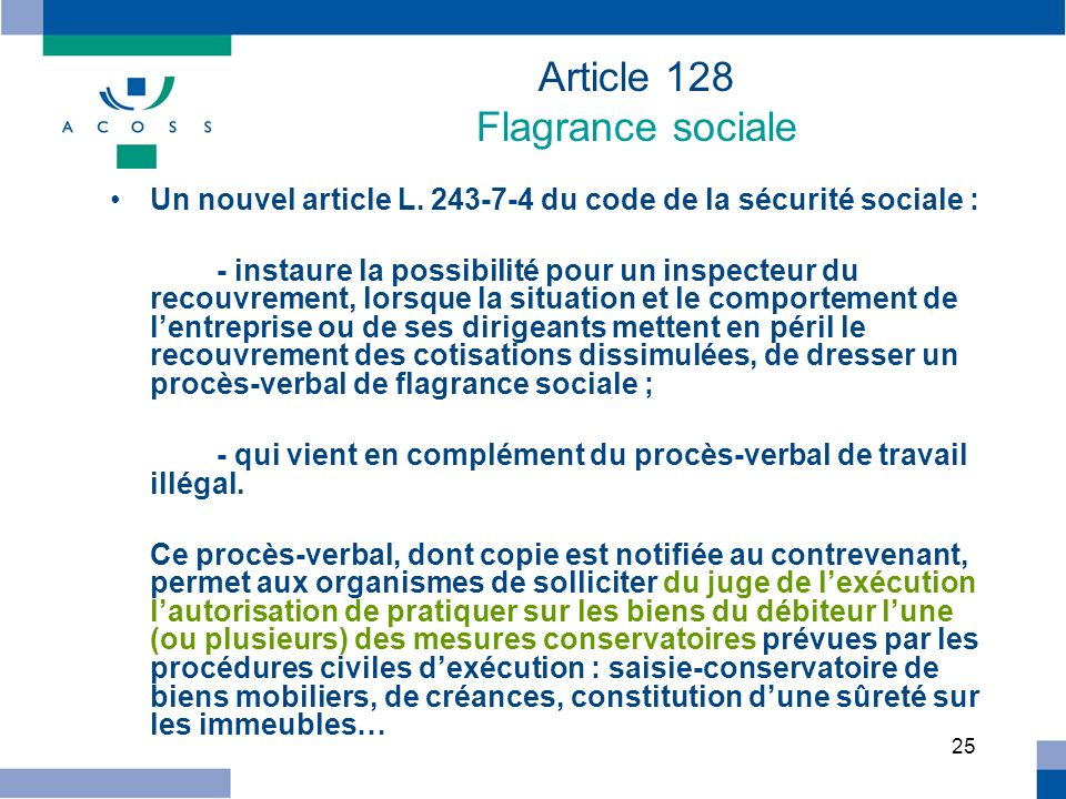 Article 128 Flagrance sociale