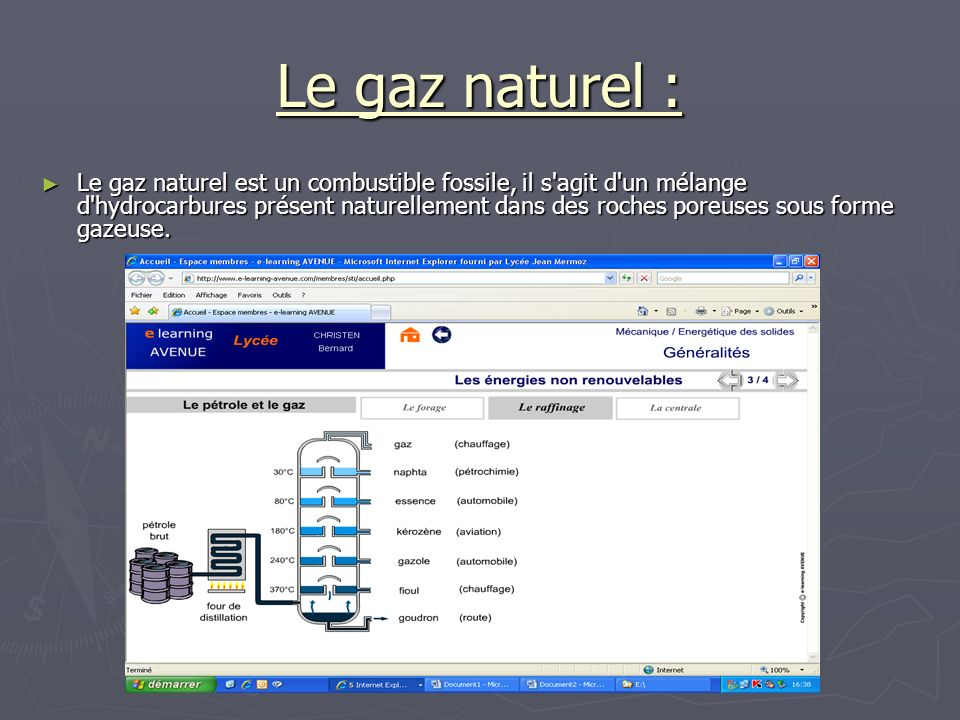 Le gaz naturel :
