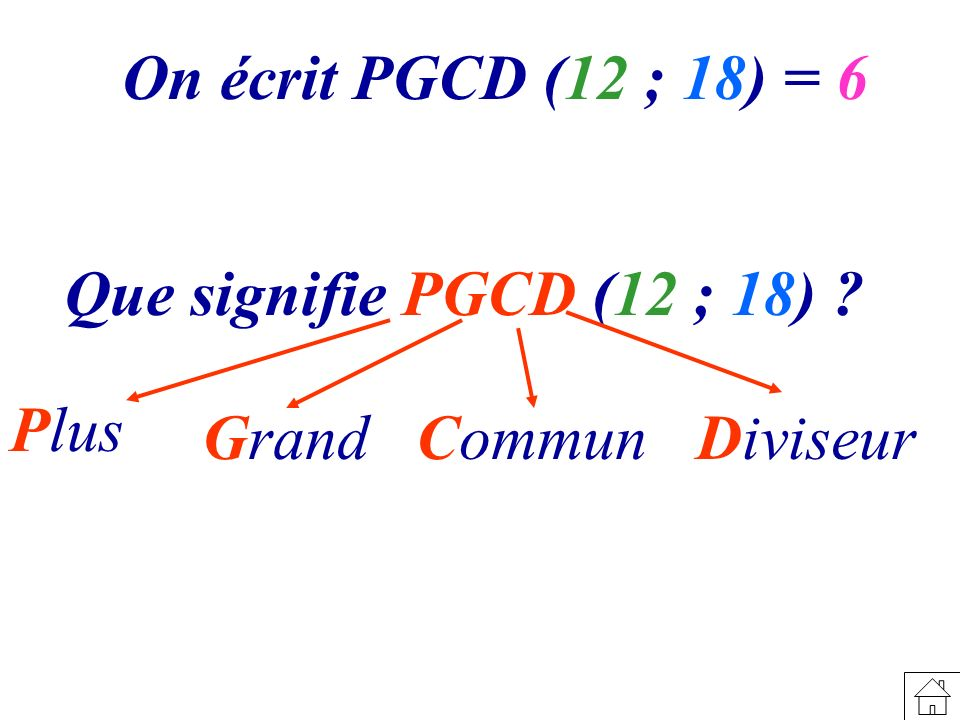 On écrit PGCD (12 ; 18) = 6 Que signifie PGCD (12 ; 18) Plus Grand Commun Diviseur