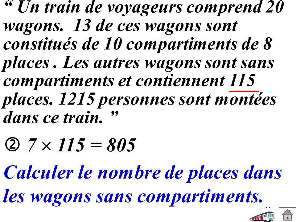 Calculer le nombre de places dans les wagons sans compartiments.