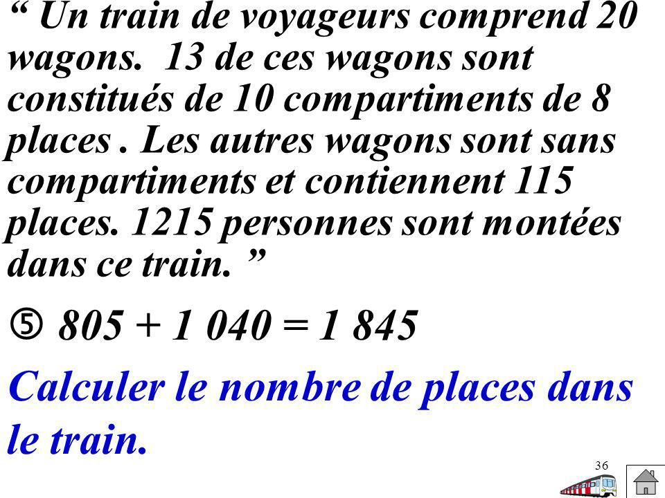 Calculer le nombre de places dans le train.