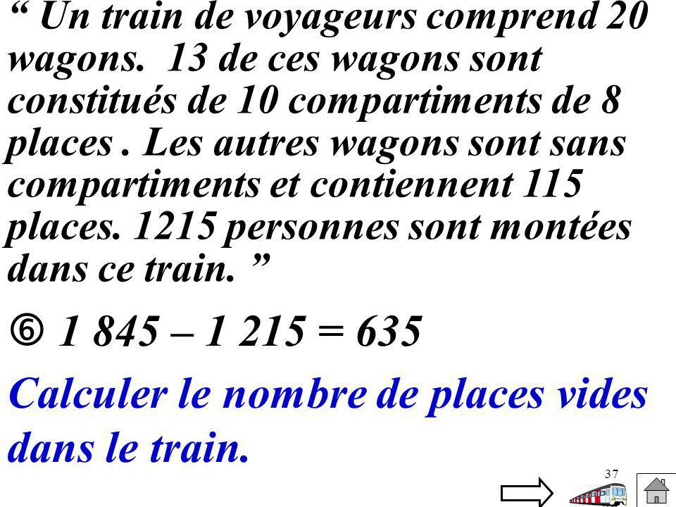 Calculer le nombre de places vides dans le train.