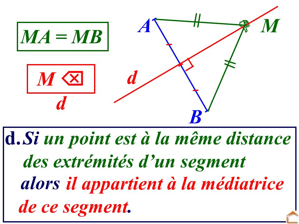 A  M MA = MB d M  d B d. Si un point est à la même distance
