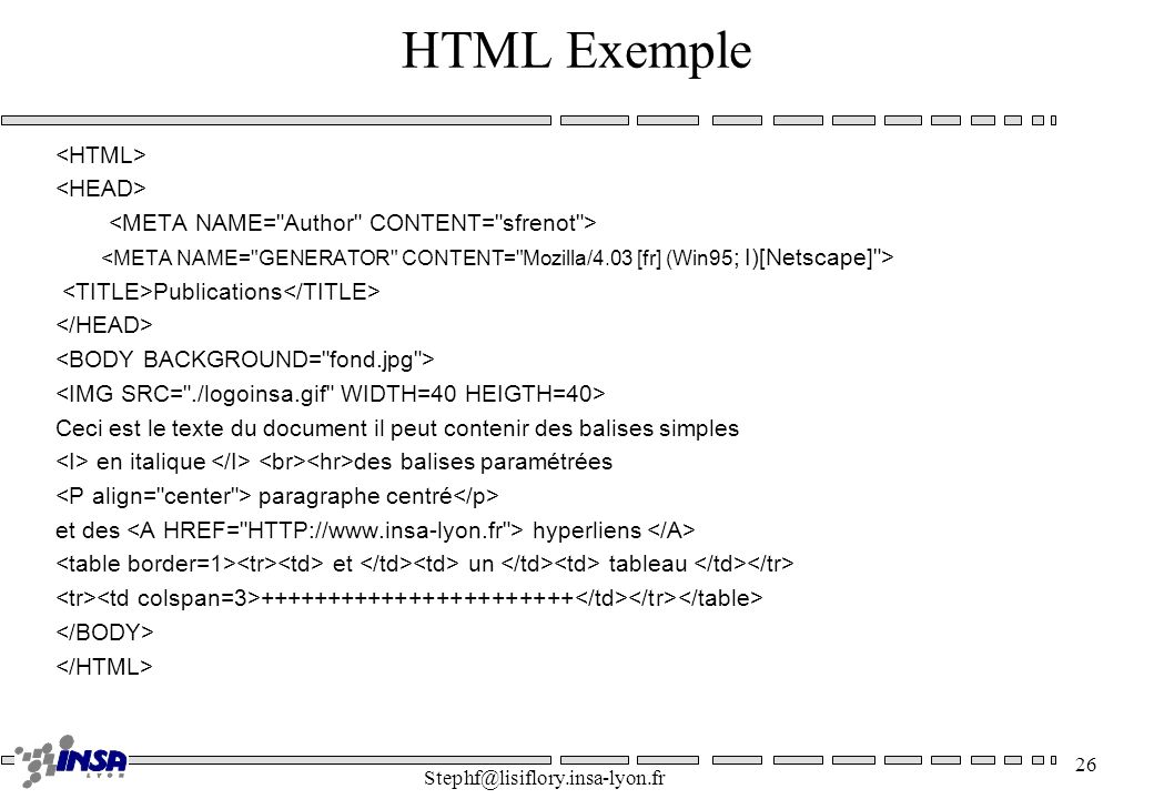 HTML Exemple <HTML> <HEAD>
