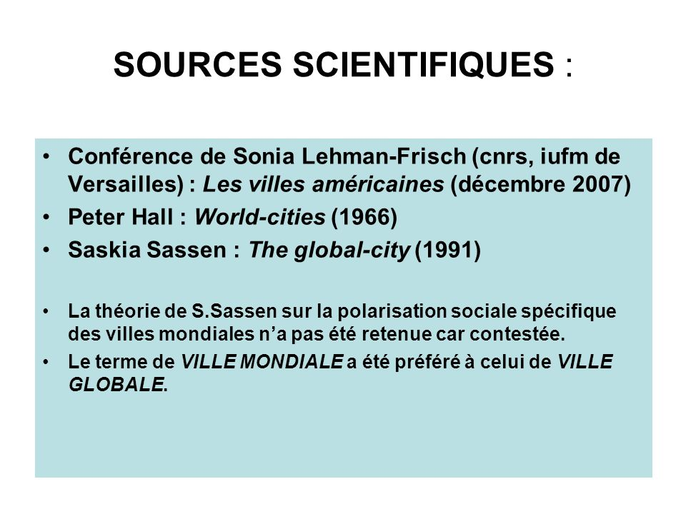 SOURCES SCIENTIFIQUES :
